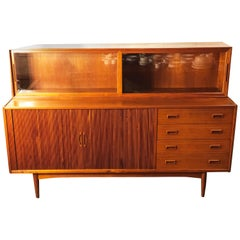 Vintage Danish Modern Teak Credenza with Glass Cabinet by Peter Hvidt