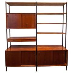 Vintage Danish Modern Teak Freestanding Wall Unit/Room Divider by Lyby Møbler