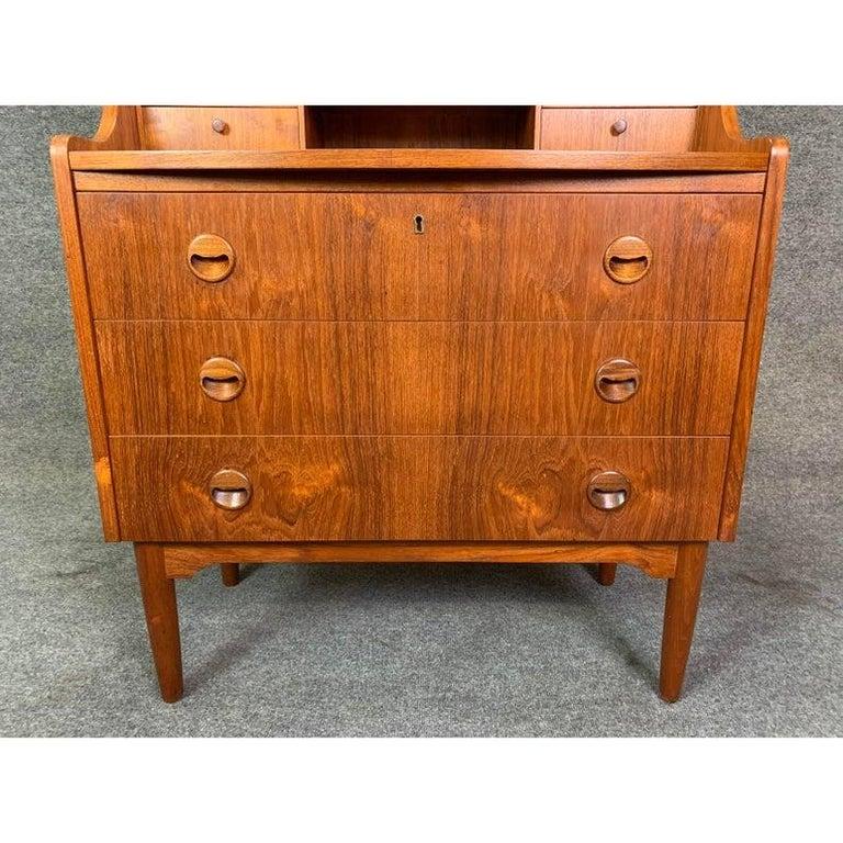 Scandinavian Modern Vintage Danish Modern Teak Secretary Desk in the Manner of Kai Kristiansen For Sale
