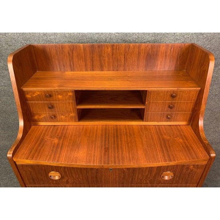 Mid-20th Century Vintage Danish Modern Teak Secretary Desk in the Manner of Kai Kristiansen For Sale