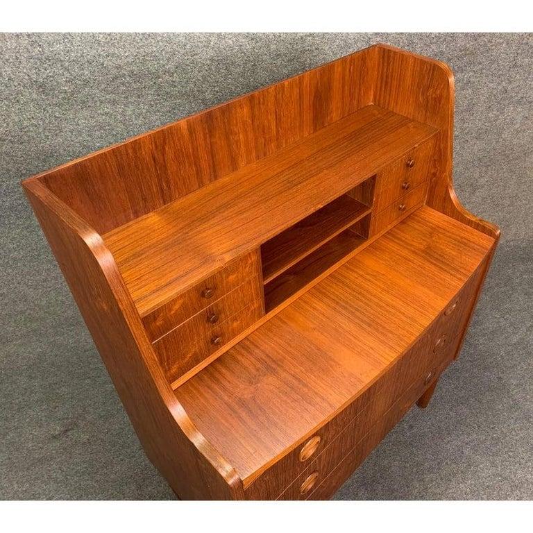 Vintage Danish Modern Teak Secretary Desk in the Manner of Kai Kristiansen For Sale 1