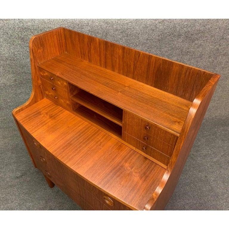 Vintage Danish Modern Teak Secretary Desk in the Manner of Kai Kristiansen For Sale 2