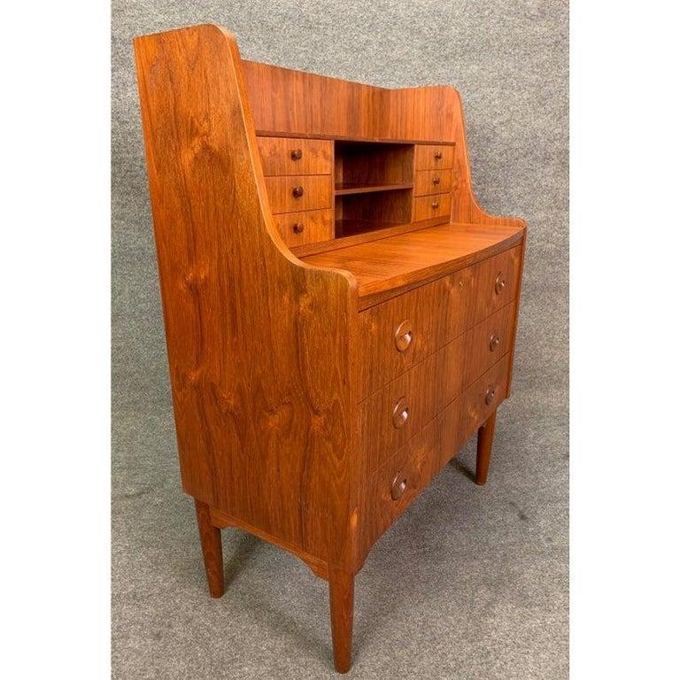 Vintage Danish Modern Teak Secretary Desk in the Manner of Kai Kristiansen For Sale 3