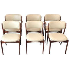 Vintage Danish Modern Teak Set of Six Dining Chairs by Erik Buch for O.D. Møbler