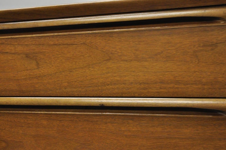 Vintage Danish Modern Walnut Tall Chest of Drawers Dresser Sculpted Pull 5