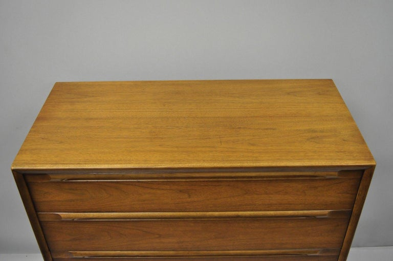 Mid-Century Modern Vintage Danish Modern Walnut Tall Chest of Drawers Dresser Sculpted Pull