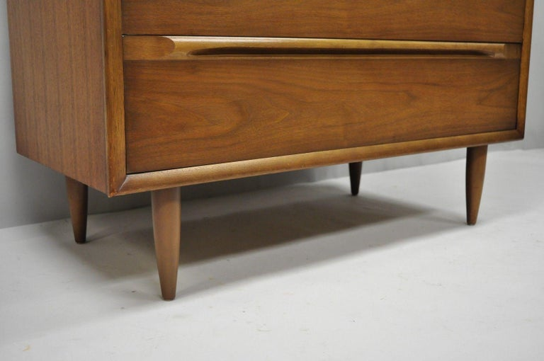 American Vintage Danish Modern Walnut Tall Chest of Drawers Dresser Sculpted Pull