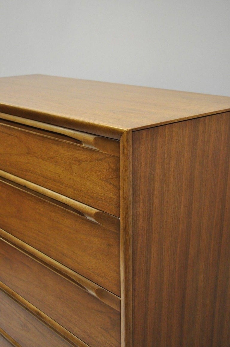 Mid-20th Century Vintage Danish Modern Walnut Tall Chest of Drawers Dresser Sculpted Pull