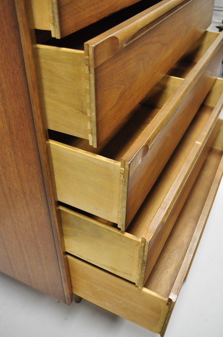 Vintage Danish Modern Walnut Tall Chest of Drawers Dresser Sculpted Pull 1