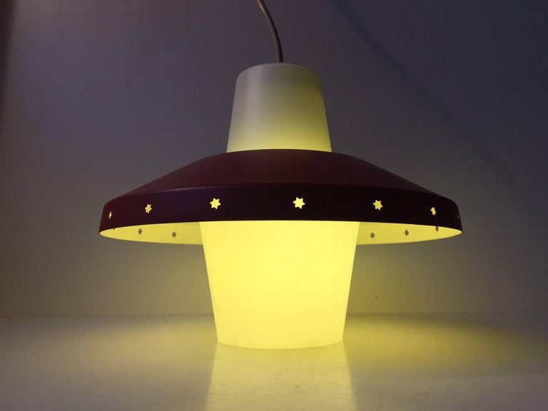 Vintage Danish Modernist 'Star' Ceiling Pendant by Bent Karlby for Lyfa, 1950s In Good Condition For Sale In Esbjerg, DK