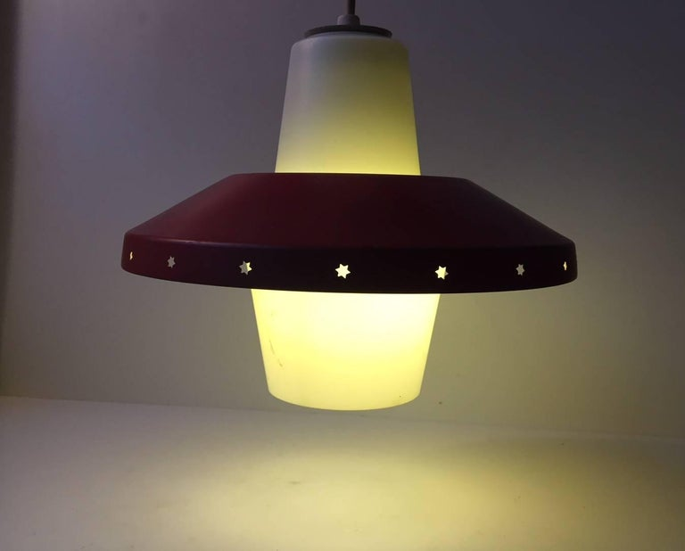 Mid-20th Century Vintage Danish Modernist 'Star' Ceiling Pendant by Bent Karlby for Lyfa, 1950s For Sale