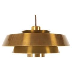 """Vintage Danish """"Nova"""" Brass Pendant by Jo Hammerborg for Fog & Mørup, 1960s"""