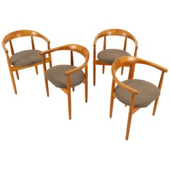 Vintage Danish Oak Armchairs by Bondo Gravesen 1960s Set of 4