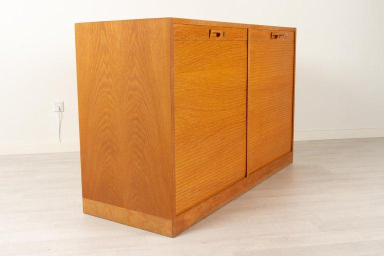 Vintage Danish Oak Cabinet with Tambour Doors, 1950s For Sale 6