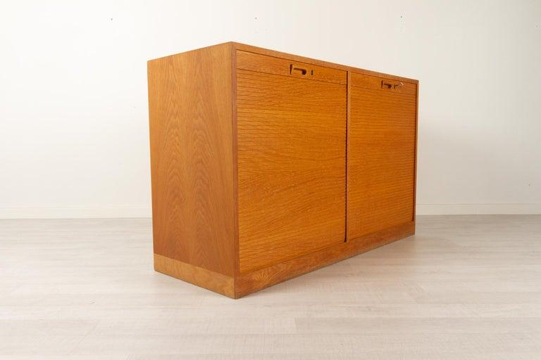 Vintage Danish Oak Cabinet with Tambour Doors, 1950s For Sale 7