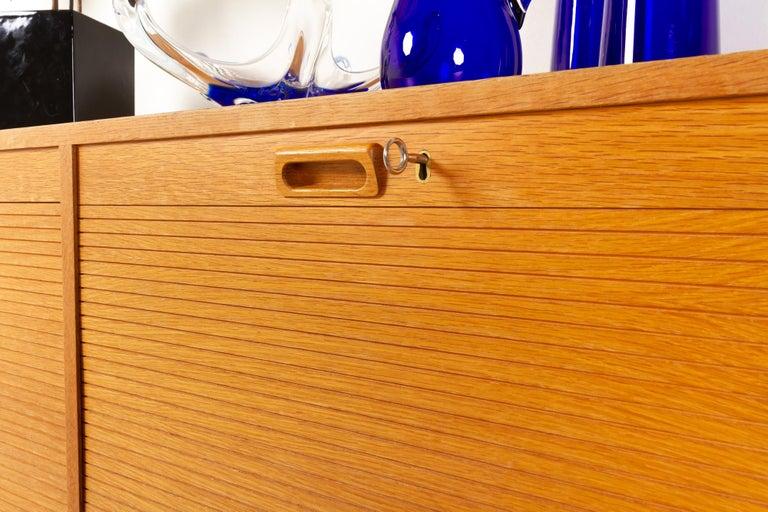 Vintage Danish Oak Cabinet with Tambour Doors, 1950s For Sale 8