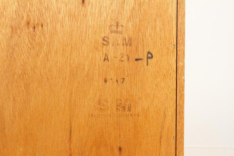 Vintage Danish Oak Cabinet with Tambour Doors, 1950s For Sale 12