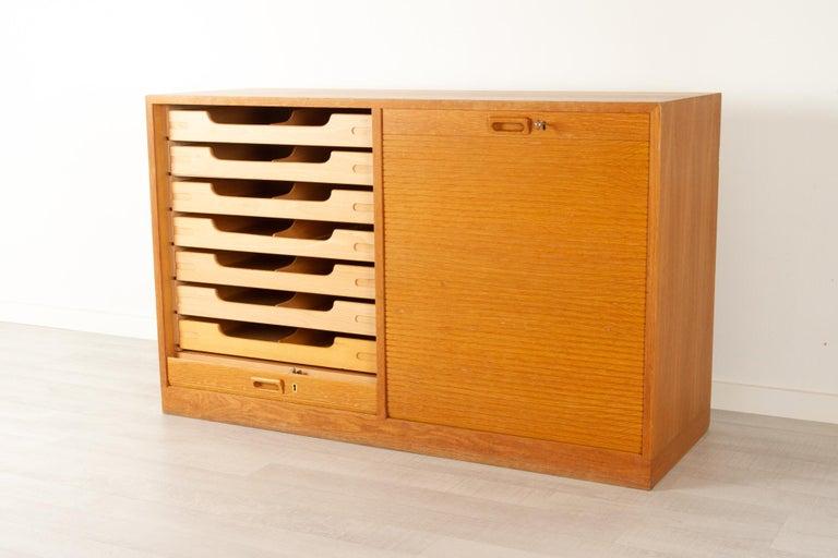 Mid-Century Modern Vintage Danish Oak Cabinet with Tambour Doors, 1950s For Sale