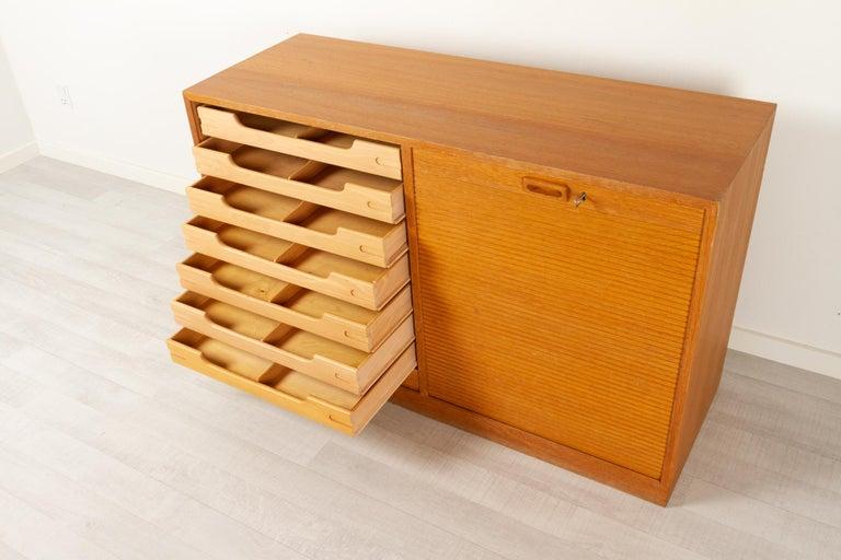 Mid-20th Century Vintage Danish Oak Cabinet with Tambour Doors, 1950s For Sale