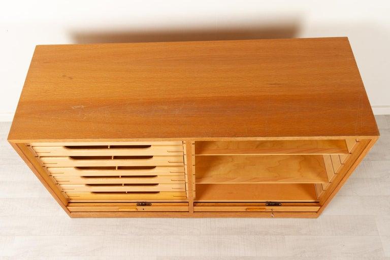 Vintage Danish Oak Cabinet with Tambour Doors, 1950s For Sale 4