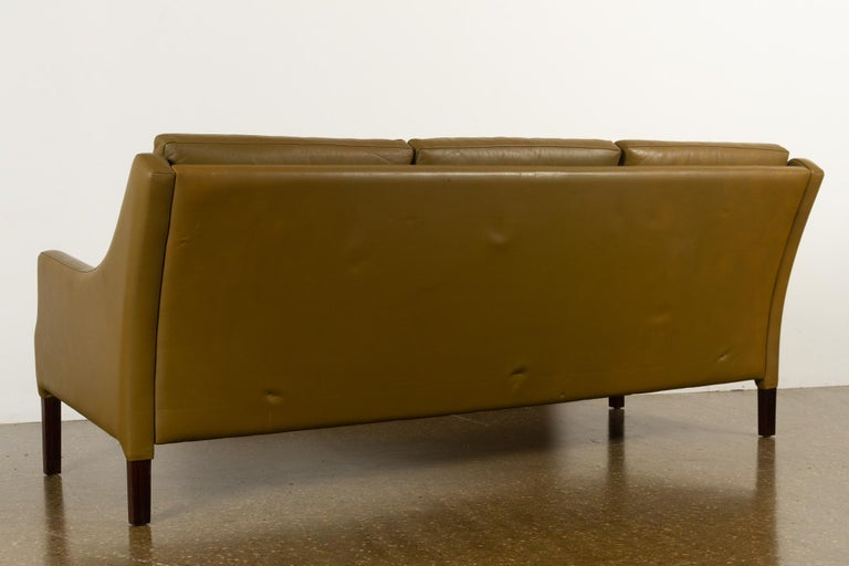 Vintage Danish Olive Green Leather Sofa, 1960s For Sale 5