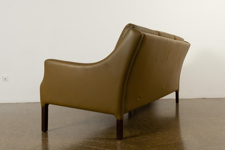 Vintage Danish Olive Green Leather Sofa, 1960s For Sale 6