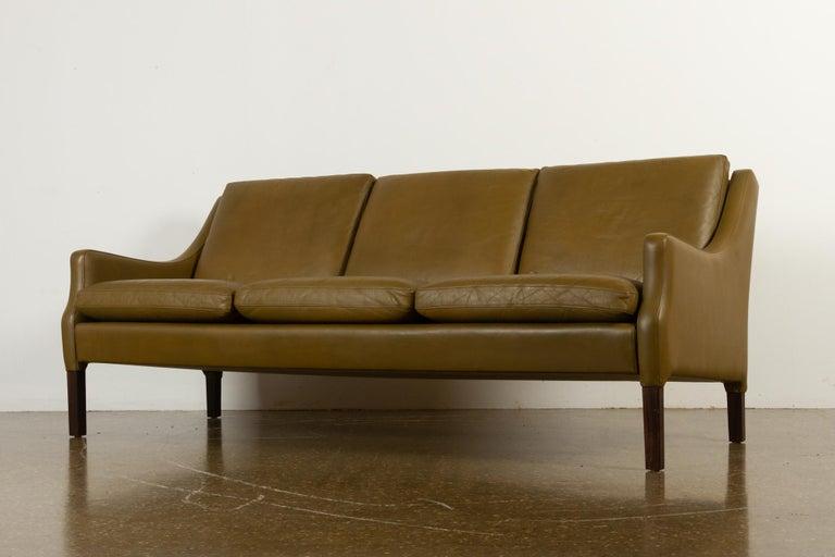 Vintage Danish Olive Green Leather Sofa, 1960s For Sale 8