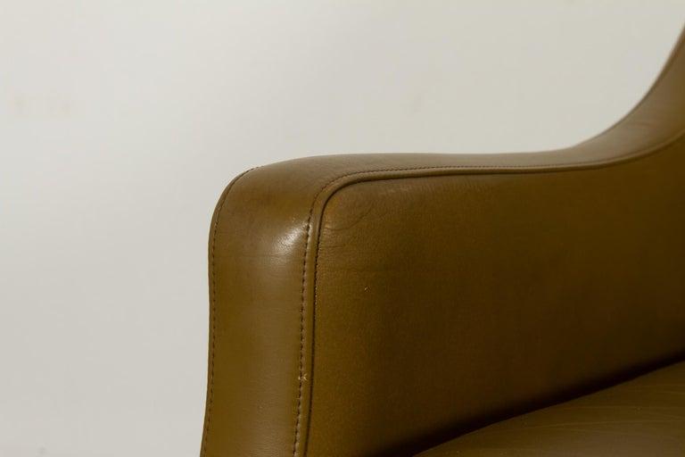 Vintage Danish Olive Green Leather Sofa, 1960s For Sale 9