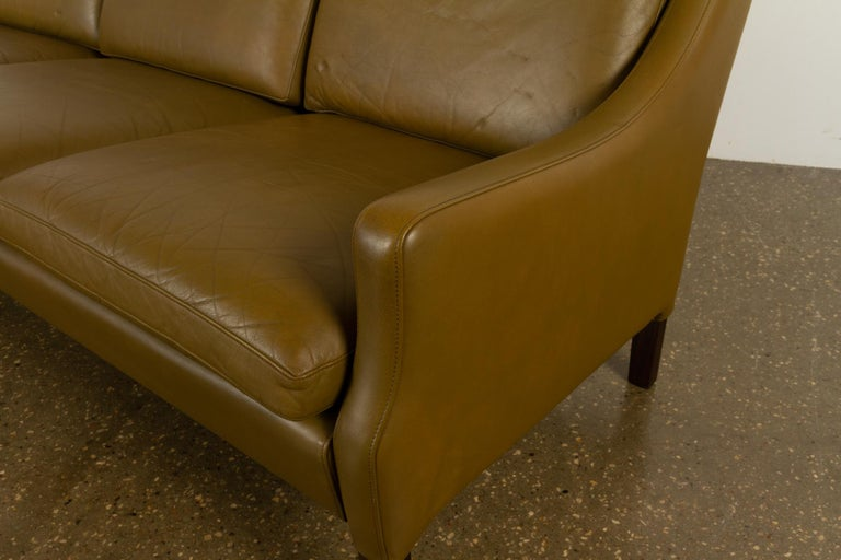 Vintage Danish Olive Green Leather Sofa, 1960s For Sale 10