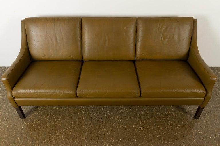 Vintage Danish Olive Green Leather Sofa, 1960s For Sale 11