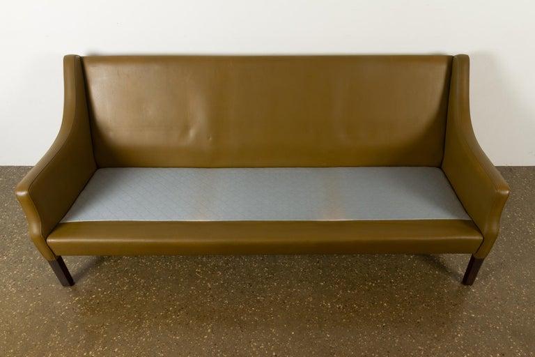 Vintage Danish Olive Green Leather Sofa, 1960s For Sale 12