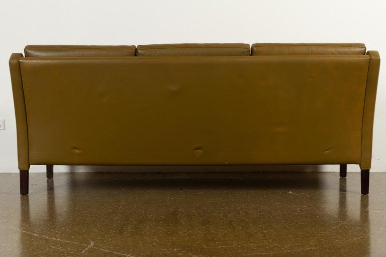 Vintage Danish Olive Green Leather Sofa, 1960s For Sale 13