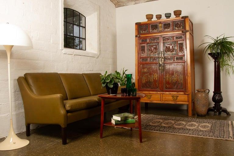 Vintage Danish Olive Green Leather Sofa, 1960s For Sale 14