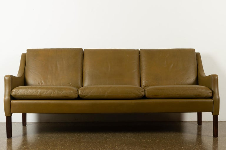 Mid-Century Modern Vintage Danish Olive Green Leather Sofa, 1960s For Sale