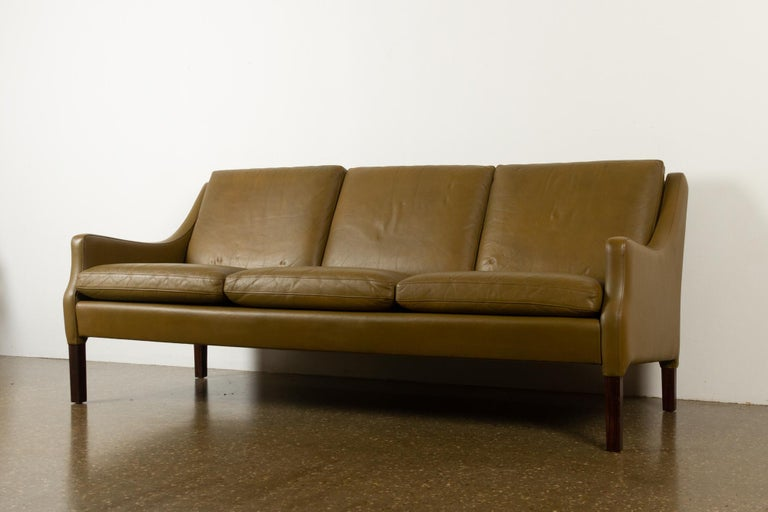 Mid-20th Century Vintage Danish Olive Green Leather Sofa, 1960s For Sale