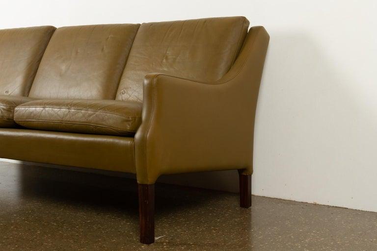 Vintage Danish Olive Green Leather Sofa, 1960s For Sale 1
