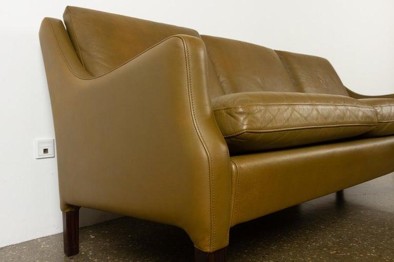 Vintage Danish Olive Green Leather Sofa, 1960s For Sale 2