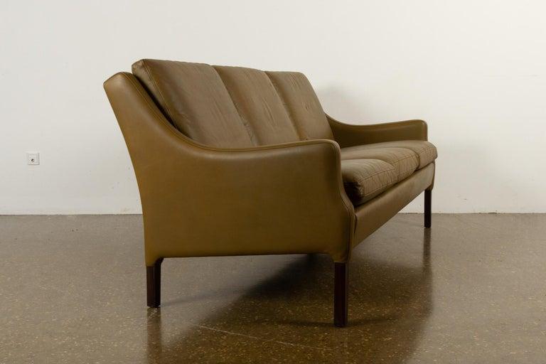 Vintage Danish Olive Green Leather Sofa, 1960s For Sale 3
