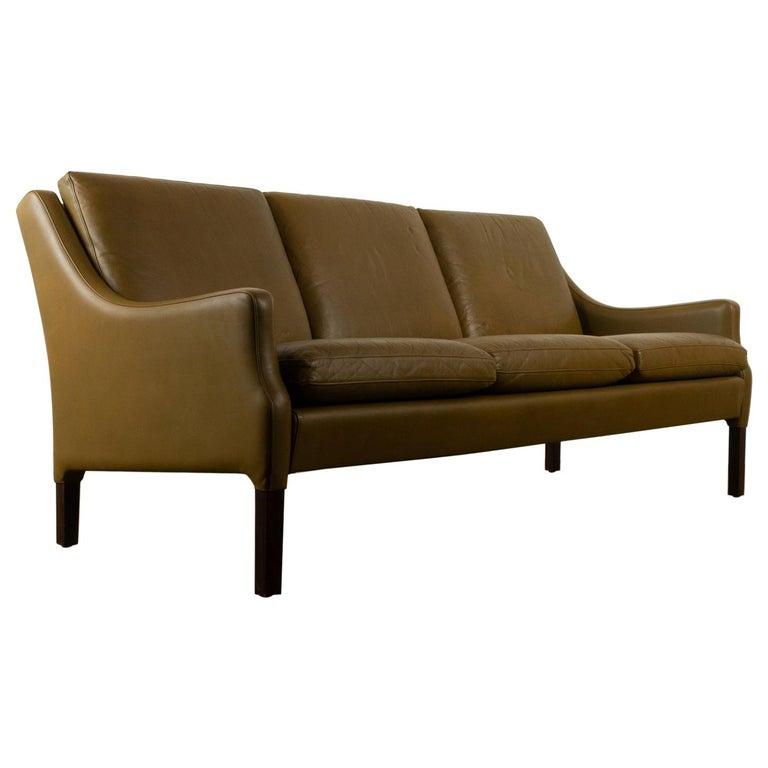 Vintage Danish Olive Green Leather Sofa, 1960s For Sale