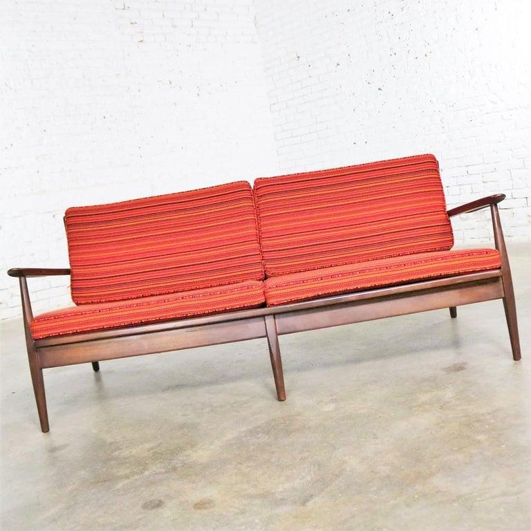 Danish or Scandinavian Modern Loose Cushion Sofa New Red Stripe Upholster