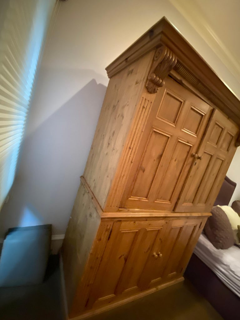 Vintage Danish Pine Armoire, Pantry or Media Cabinet For Sale 3