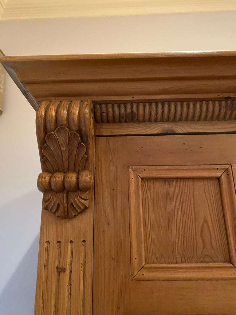 Hand-Crafted Vintage Danish Pine Armoire, Pantry or Media Cabinet For Sale