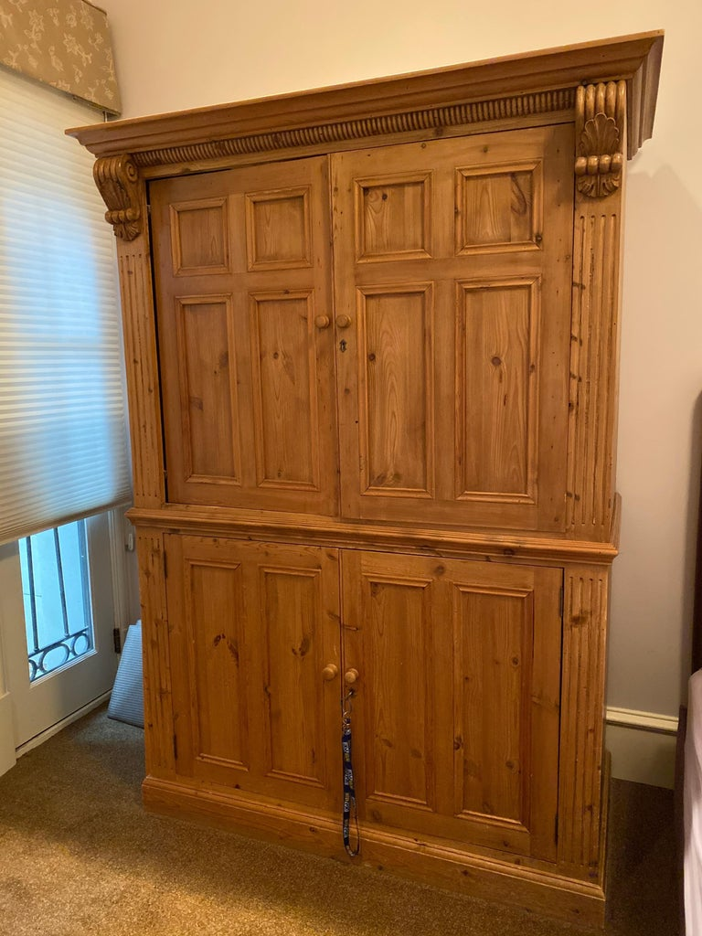 20th Century Vintage Danish Pine Armoire, Pantry or Media Cabinet For Sale