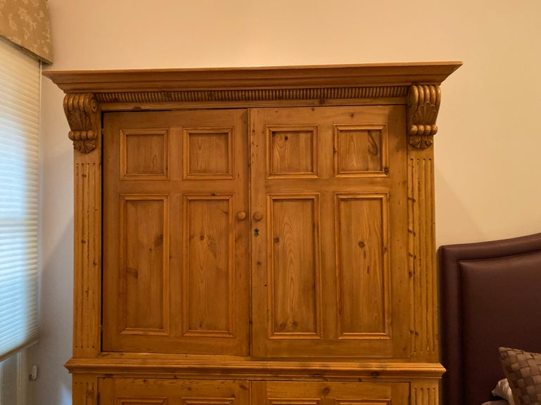 Vintage Danish Pine Armoire, Pantry or Media Cabinet For Sale 1