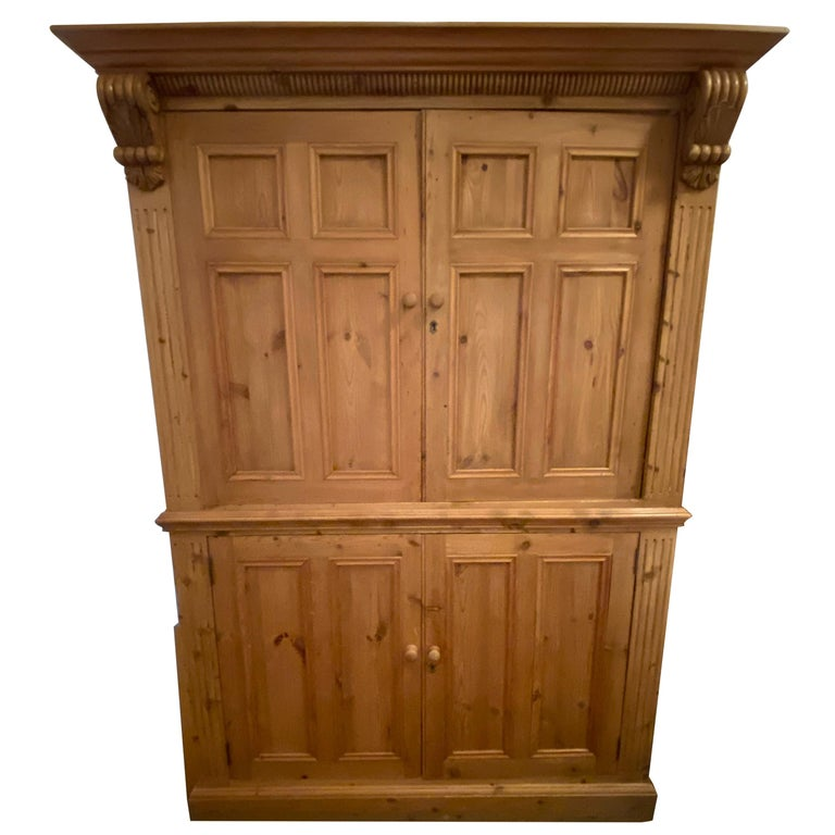 Vintage Danish Pine Armoire, Pantry or Media Cabinet For Sale