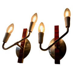 Vintage Danish Polished Aluminium Dual Sconces with Maroon Tiles, 1970s