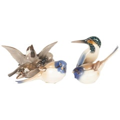 Vintage Danish Porcelain Bird Figurines by Dahl Jensen for B&G, 1960s