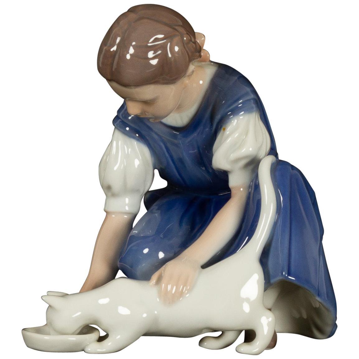 "Vintage Danish Porcelain Figurine ""Girl with Cat"" by Bing & Grøndahl"