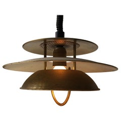Vintage Danish Rise and Fall Brass Ceiling Lamp from Vitrika, 1970s
