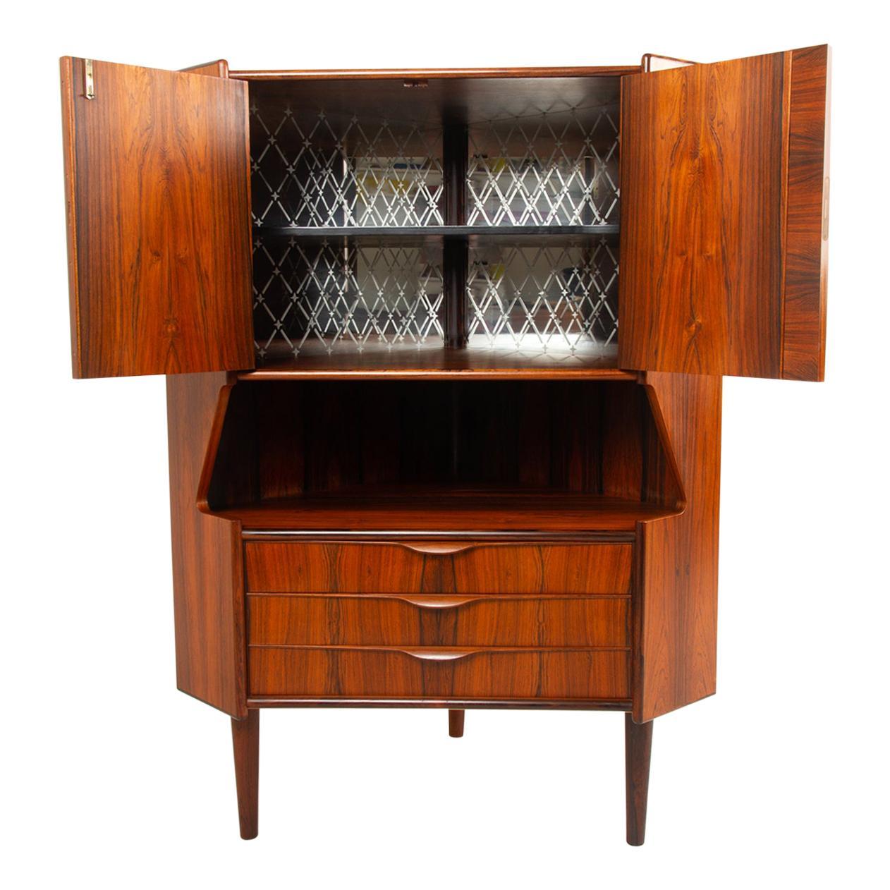 Vintage Danish Rosewood Corner Cabinet with Dry Bar, 1960s
